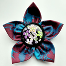 Flower brooch burgundy (60s button)