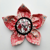 Flower brooch red (birds button)