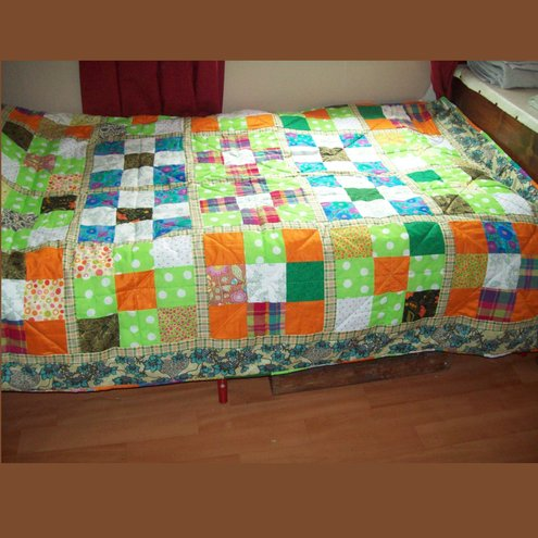 Citrus Coloured Patchwork Quilt Single Bed