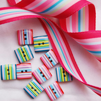 RESERVED LISTING FOR POLKA- Andrea. 10 Square Nice and Colourful Stripey Buttons and 10mtrs fab stripey ribbon.