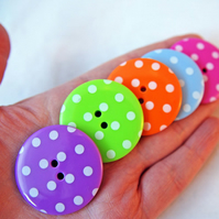 5 Big Spotty Buttons- In 5 Individual colours 3.5cm