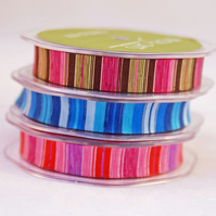 3 Colours Horizontal Striped Ribbon X 3 Metres