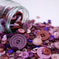 50g Mixed Bag of Yummy Purple Buttons