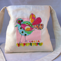Patchwork Bird and Hearts Bag