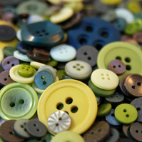 Green Buttons- 50g Mixed Bag