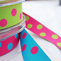 2metres Reversible Dots Satin Ribbon- your choice