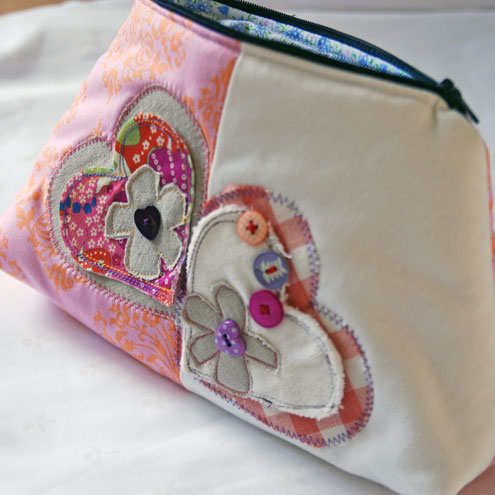 Applique Hearts and Buttons Bag X Free Goody Bag for one day only