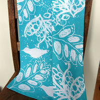 Tea Towel- Birds and Leaves Design Screen Printed in Blue. 100% Standard Cotton
