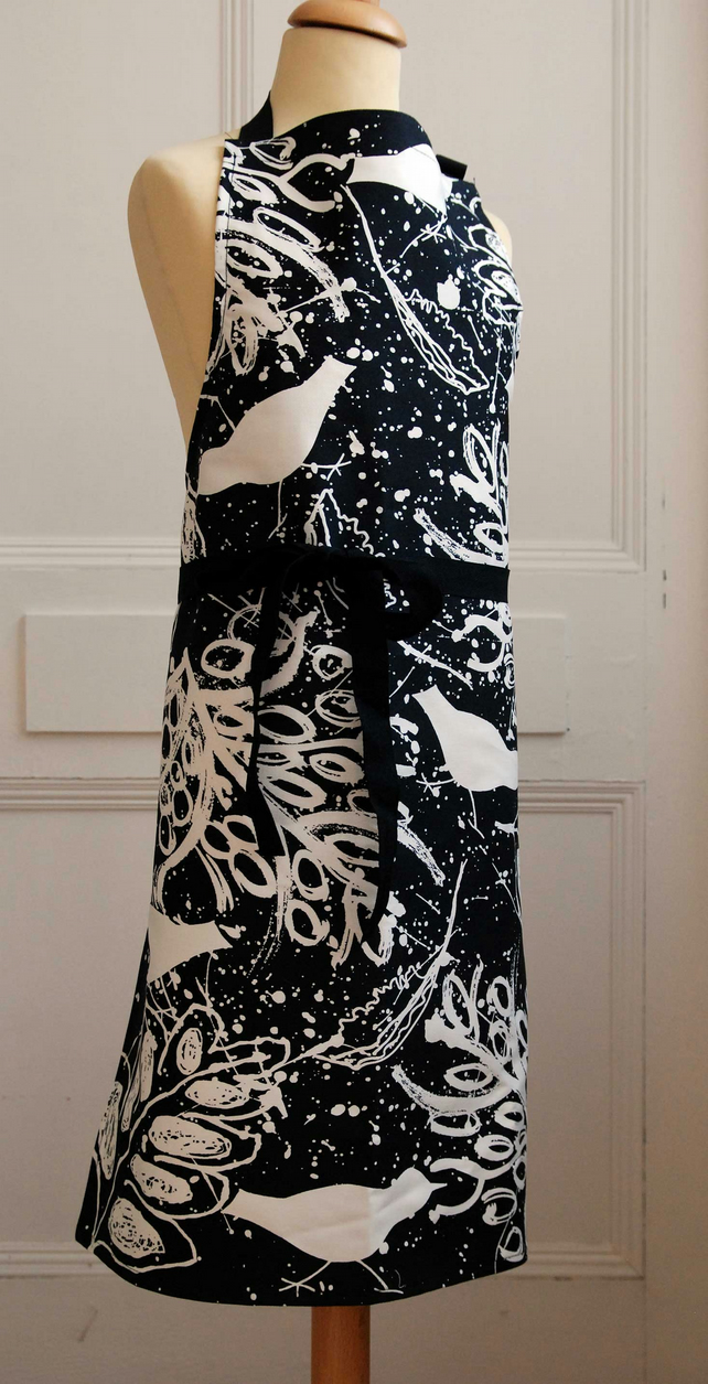 Apron-Screen Printed in the UK. Black and White Birds and Leaves . Cotton Drill.