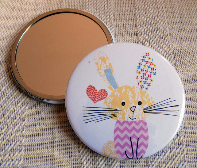 Rabbit Mirror. Cute Little Rabbit in Chevron Jumper Pocket Mirror. Gift.