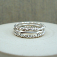 Sterling Silver Stacking Rings (Free UK Postage)
