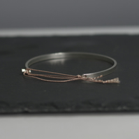 Sterling Silver Bangle Bracelet with Silk