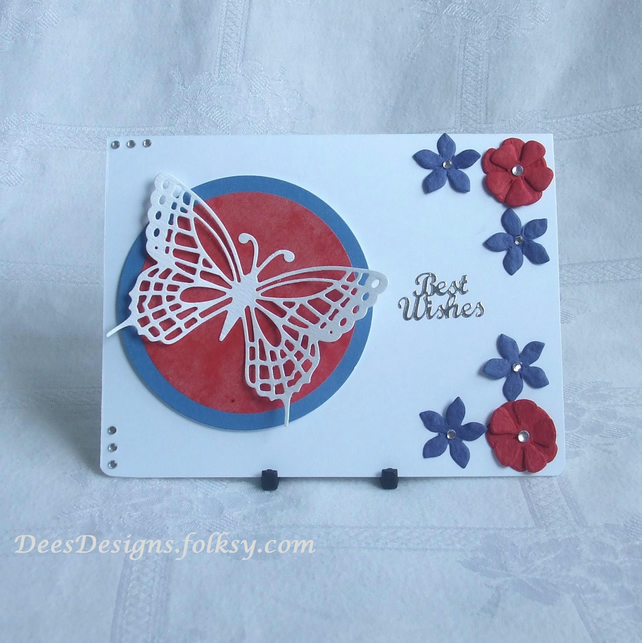 Handmade Best Wishes Card. White  Butterfly