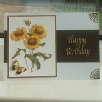 Handmade Birthday Card, Sunflowers & Butterfly