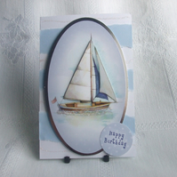 Handmade Birthday Card, Sailing Yacht