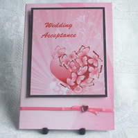 Handmade Wedding Acceptance Card, Pink Heart & Butterflies