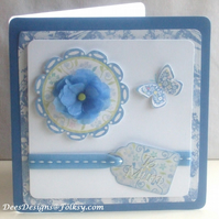 Handmade Blue Flower To Mum Card