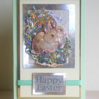 Handmade Easter Card, Decoupaged Bunnies