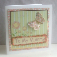 Handmade To My Mummy, Butterfly Mother`s Day Card