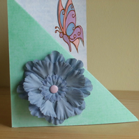 ONE DAY SALE ITEM 12th MARCH  Handmade Blue Flower & Butterfly Card