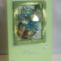 Blue Flowers & Butterflies Mother`s Day Card