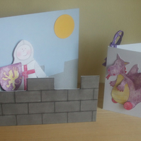 Knight in a Castle Kids Birthday Card, with free Gift card