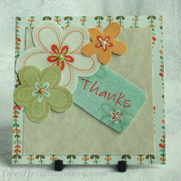 Handmade Thank You Card, Floral Trio