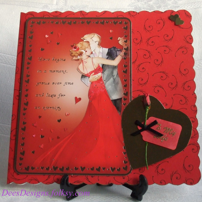 Handmade Valentine Card for Wife Dancing Couple  Folksy