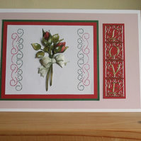 Valentines Day or Anniversary Card, Red Rosebuds, Sale Item, Reduced in Price
