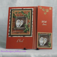 Handmade Card for Dad, Owl bookmark card,