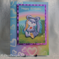 Handmade Personalised Card, Made to Order, Bunny's Rainbow