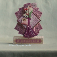 Art Deco Lady Card, Pink and Gold