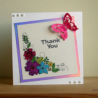 Thank You Card, Floral Corner, Can Be Personalised