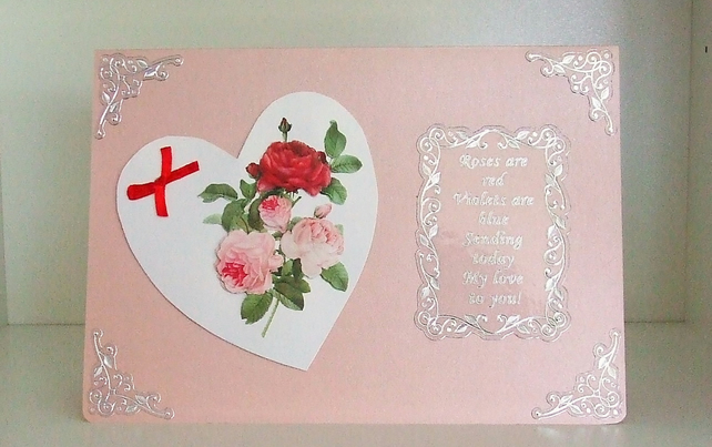 Valentines or Anniversary Card, Hearts and Roses