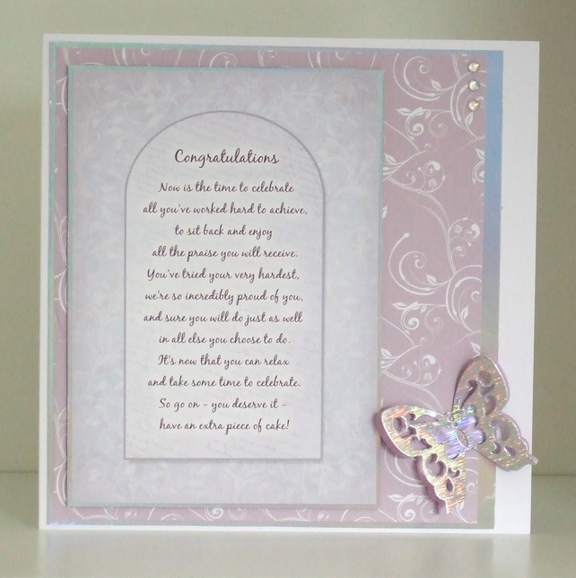 Handmade Exam Congratulations Verse Card (356)