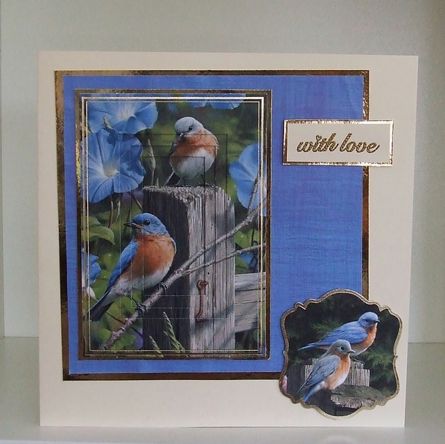 Handmade Blank card for Any Occasion, Bluebirds With Love (213)