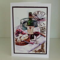 Handmade Any Occasion Card, Wine and Cheese