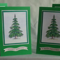 Set Of 4 Christmas Cards, Frosty Trees