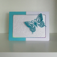 Handmade Turquoise Butterfly card, Personalisation Available