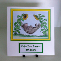 Handmade Card for Any Occasion, Made to Order, Relaxing Bear