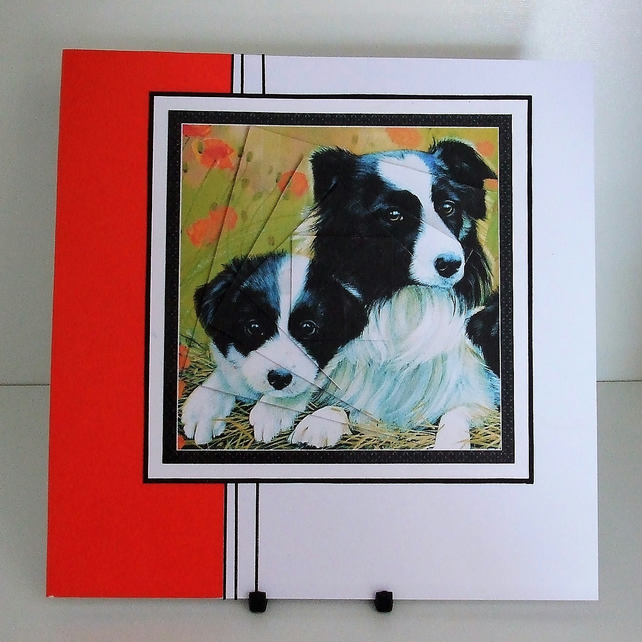 Handmade Card For Any Occasion, Collie and Pup (334) REDUCED TO CLEAR