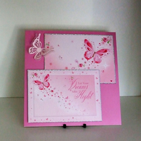 Handmade Card, Can Be Personalised, Pink Butterflies