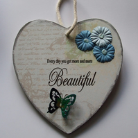 Decorated Wooden Heart Sign, Can Be Personalised, Blue Flowers and Butterfly