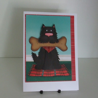 Handmade Blank Card, Can Be Personalised, Dog with Bone Biscuit (336)