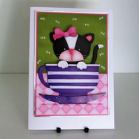 Handmade Blank Card, Can Be Personalised, Kitten In A Teacup