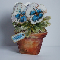 Handmade Shaped Thank You Card, Blue Pansy (409) REDUCED TO CLEAR