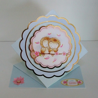 Handmade Shaped Card, Romantic Owls, Suitable for Valentines, Weddings etc.