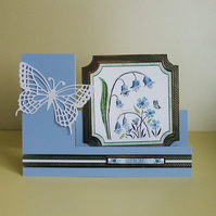 Handmade Stepper Card, Bluebells and Cornflowers, Just To Say.... (419)