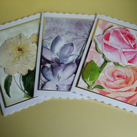 Pack Of 3 Handmade Blank Cards, Floral Bouquet, Ideal for Any Occasion