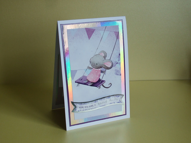 Handmade Pop-Out Card, Mouse on a Swing (432)